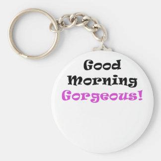 Buena mañana magnífica llaveros personalizados