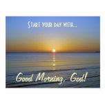 Buena mañana, mensaje cristiano inspirado de dios tarjeta postal