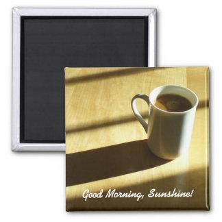 Buena mañana, sol imán cuadrado
