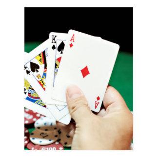 Buena mano del póker postales
