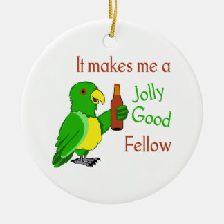 Buena persona alegre adorno navideño redondo de cerámica
