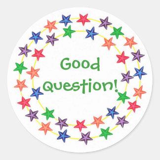 Buena pregunta, círculo de los pegatinas coloridos pegatina redonda