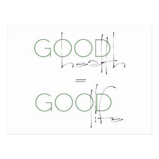 Buena salud = buena vida, postal de la forma de