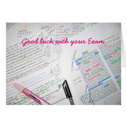 Buena suerte con su examen tarjeta de felicitación