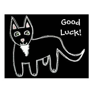 Buena suerte del gato negro tarjeta postal