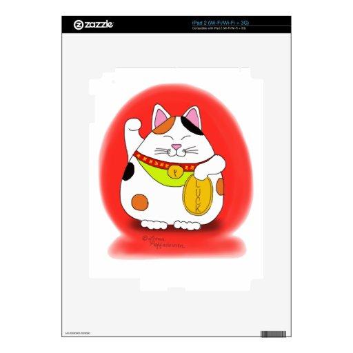 Buena suerte Maneki Neko Calcomanías Para iPad 2