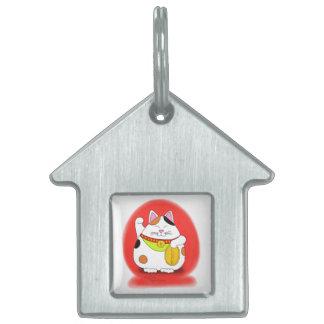 Buena suerte Maneki Neko Placas De Nombre De Mascota