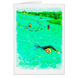Buena suerte para Triathlete - nadando de curso Tarjeta De Felicitación