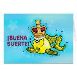 ¡¡BUENA SUERTE! Pescados divertidos españoles de l Felicitación