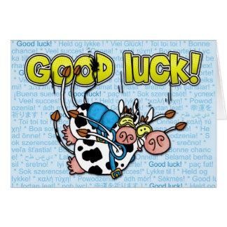 buena suerte - tándem skydive de las vacas tarjeta de felicitación