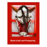 Buena suerte y prosperidad, máscara animal orienta postal