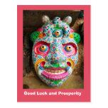 Buena suerte y prosperidad, máscara del festival tarjeta postal