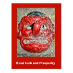 Buena suerte y prosperidad, máscara roja de la nar tarjetas postales