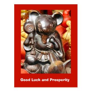 Buena suerte y prosperidad, ratón afortunado postales