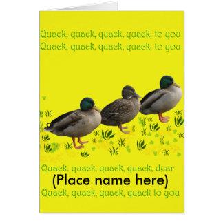 Buena tarjeta de cumpleaños de Quacking
