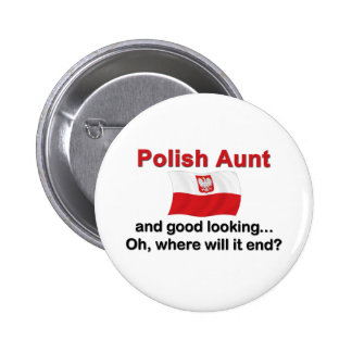 Buena tía polaca de Lkg Pin Redondo De 2 Pulgadas