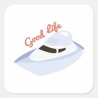 Buena vida pegatina cuadrada