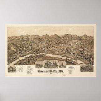 Buena Vista Virginia 1891 Antique Panoramic Map Poster