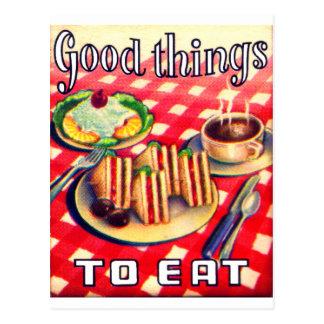 Buenas cosas a comer tarjeta postal