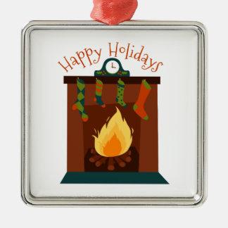 Buenas fiestas adorno navideño cuadrado de metal