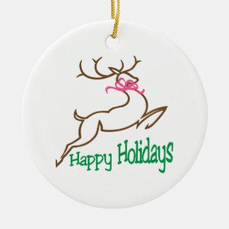 Buenas fiestas adorno navideño redondo de cerámica