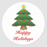 Buenas fiestas, árbol de navidad con las luces etiquetas redondas