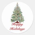Buenas fiestas, árbol de navidad con las luces etiqueta redonda