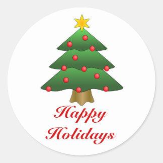 Buenas fiestas, árbol de navidad con las luces pegatina redonda