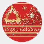 Buenas fiestas árbol de navidad pegatina redonda