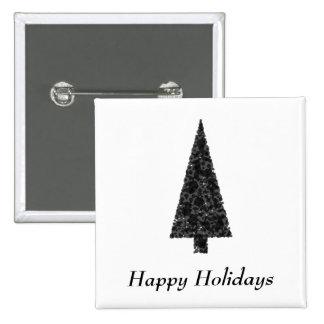 Buenas fiestas. Árbol elegante. Blanco negro Pin Cuadrada 5 Cm