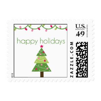 Buenas fiestas árbol sellos