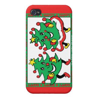 Buenas fiestas árboles de navidad divertidos del b iPhone 4 carcasa