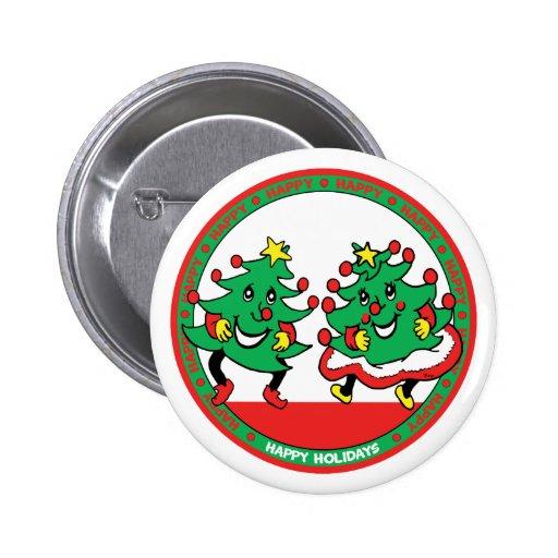Buenas fiestas árboles de navidad divertidos del b pin redondo 5 cm