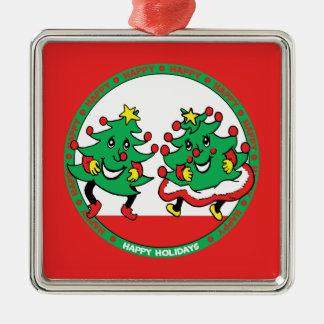 Buenas fiestas árboles de navidad divertidos del adorno cuadrado plateado