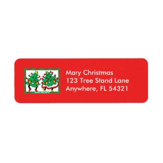 Buenas fiestas árboles de navidad divertidos del etiqueta de remitente