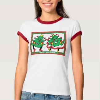 Buenas fiestas árboles de navidad divertidos del playera