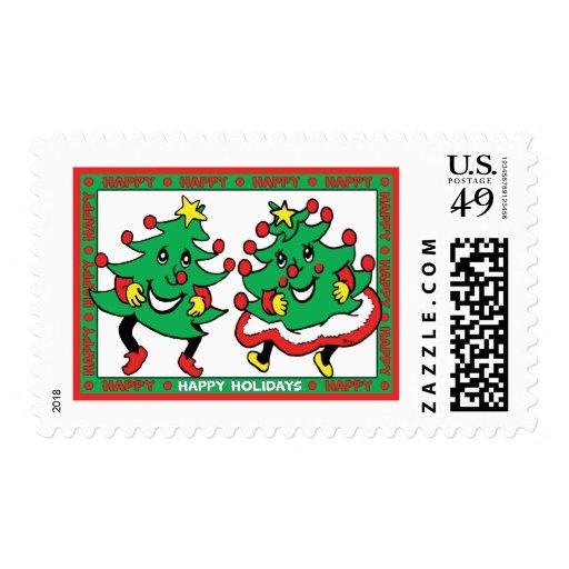 Buenas fiestas árboles de navidad divertidos del sello
