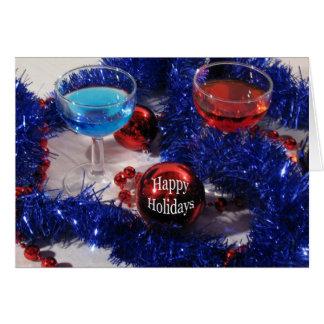 Buenas fiestas - azul y rojo felicitacion