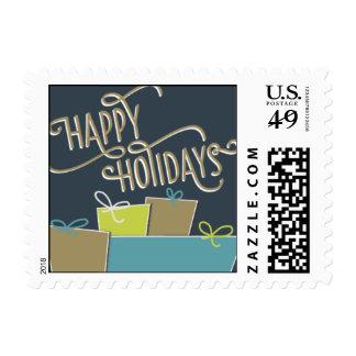 Buenas fiestas - azules marinos y trullo sello