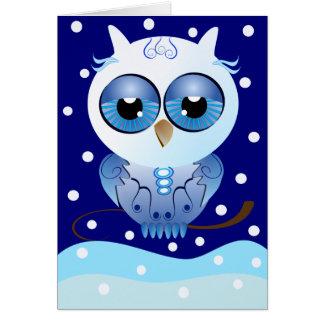 Buenas fiestas búho de la nieve de la tarjeta