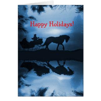 Buenas fiestas caballo y trineo en la nieve tarjeta de felicitación