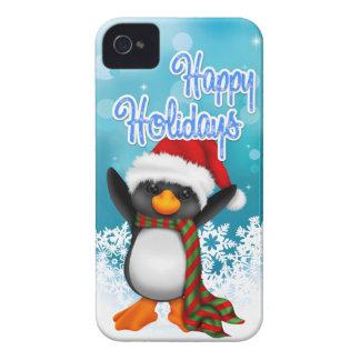 Buenas fiestas caso lindo del iPhone 4 del pingüin Case-Mate iPhone 4 Cárcasas