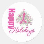 Buenas fiestas cinta del rosa del cáncer de pecho etiqueta