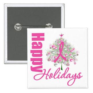 Buenas fiestas cinta del rosa del cáncer de pecho pins