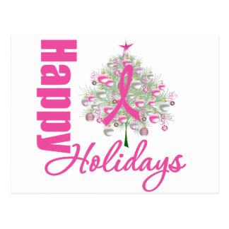 Buenas fiestas cinta del rosa del cáncer de pecho postal