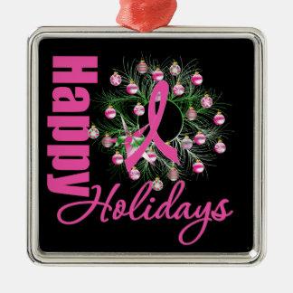 Buenas fiestas cinta rosada - cáncer de pecho adorno navideño cuadrado de metal
