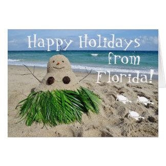 Buenas fiestas coco del muñeco de nieve del navida tarjeton