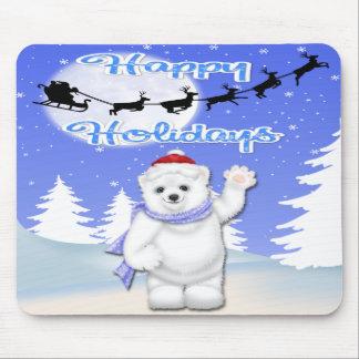 Buenas fiestas cojín de ratón del oso polar tapete de ratón