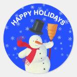 Buenas fiestas con el muñeco de nieve etiquetas redondas