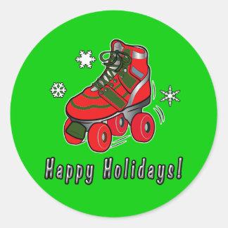 Buenas fiestas con el patín de ruedas del navidad pegatina redonda